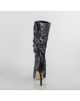 BOOTS BLACK SILVER SNAKE PRINT CAFENOIR