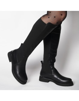 BLACK LEATHER RIDING BOOTS CAFENERO