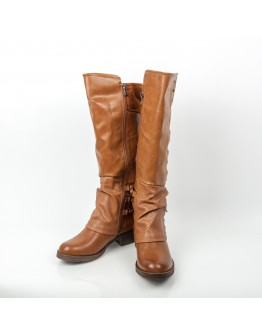 BROWN MOTORBIKE LEATHER BOOTS AZAREY