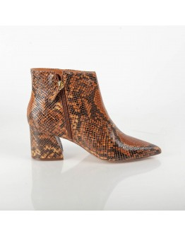 BROWN SNAKE PRINT BOOTIE