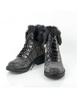 FUR BOOTIES WITH STRASS AZAREY