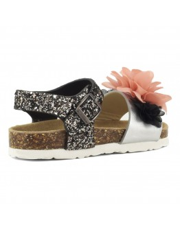 BIO SANDALS WITH GLITTER AND FLOWERS