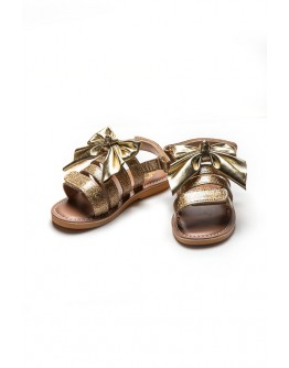 LEATHER SANDALS WITH GLITTER
