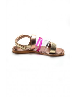 LEATHER SANDALS WITH COLORFULL STRIPES