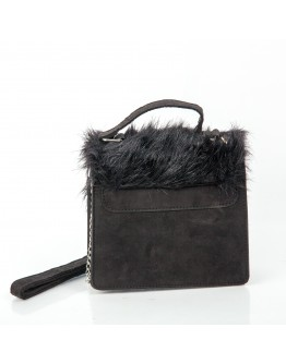 SUEDE BLACK BAG FAUX FUR